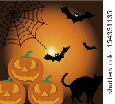 pumpkin  cat and bat on special ... | Shutterstock .eps vector #154331135