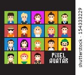 set of pixel people avatar ... | Shutterstock .eps vector #154333229