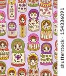 russian doll seamless pattern | Shutterstock .eps vector #154336091