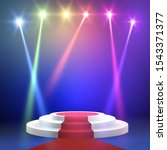 red carpet with round podium.... | Shutterstock .eps vector #1543371377