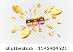 Golden slot machine wins the jackpot 777 on transparent background of an explosion of coins. Vector illustration - stock vector