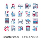 pharmacy color icons set....