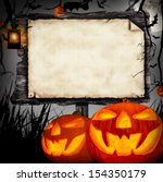 Small photo of Scary halloween concept with wooden blank board