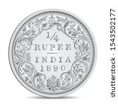 Antique Indian Quarter rupee coin 1890 in vector illustration