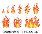 cartoon color orange fire flame ... | Shutterstock .eps vector #1543523237