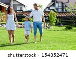 families with a child on a lawn ... | Shutterstock . vector #154352471