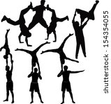 set gymnasts acrobats vector... | Shutterstock .eps vector #154354055