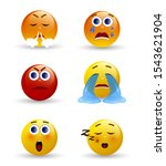 set of emoticons. 3d realistic... | Shutterstock .eps vector #1543621904