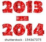 2013 2014  silhouette ornament... | Shutterstock .eps vector #154367375