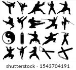 Set Of Martial Arts Silhouette...