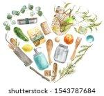zero waste watercolor heart...   Shutterstock . vector #1543787684