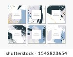 set of pastel square hand drawn ... | Shutterstock . vector #1543823654