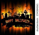 spooky grunge halloween... | Shutterstock .eps vector #154384061