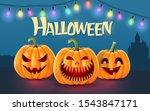 halloween background  pumpkins... | Shutterstock .eps vector #1543847171