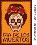 frame with mexican skull girl | Shutterstock .eps vector #154388699