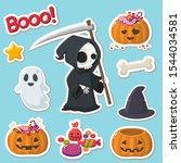 halloween icon grim reaper.... | Shutterstock . vector #1544034581