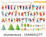 big new year set. happy people... | Shutterstock .eps vector #1544041277