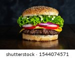 Tasty Gourmet Burger With Black ...