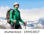portrait of hiker looking at... | Shutterstock . vector #154413017