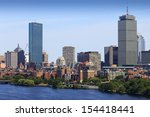 Stock photo aerial view of boston in massachusetts usa on a sunny summer day 154418441