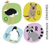 animal alphabet for kids o r | Shutterstock .eps vector #154419401