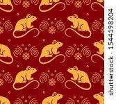 golden rat seamless pattern....   Shutterstock .eps vector #1544198204