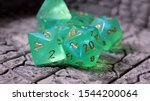 Green Dnd D20 Dice Set For Ttrpg