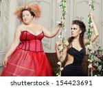 red and black queens posing... | Shutterstock . vector #154423691