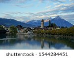 Panoramic view of Interlaken West city and Aare river from viewpoint at Goldey bridge in Unterseen.