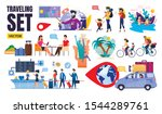 flat traveling set vector with... | Shutterstock .eps vector #1544289761