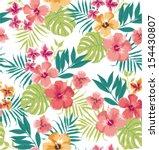 seamless tropical flower vector ... | Shutterstock .eps vector #154430807