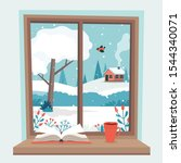 winter window with view  a book ... | Shutterstock .eps vector #1544340071
