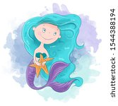 Cute Cartoon Mermaid Girl....