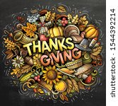 happy thanksgiving hand drawn... | Shutterstock .eps vector #1544392214