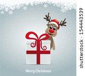reindeer hat winter landscape... | Shutterstock .eps vector #154443539