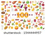 100 colored food icons.... | Shutterstock .eps vector #1544444957
