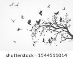 Figure Flock Of Flying Birds O...