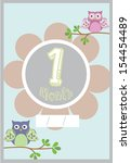 baby photo card month 1 | Shutterstock .eps vector #154454489