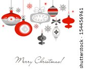 retro christmas ornaments | Shutterstock .eps vector #154456961