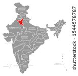 haryana red highlighted in map...   Shutterstock . vector #1544578787