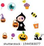 happy halloween banner or... | Shutterstock .eps vector #1544583077
