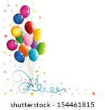 colorful balloons with confetti | Shutterstock .eps vector #154461815