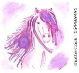Watercolor Lilac Abstract Hors...