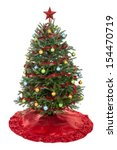 real decorated christmas tree... | Shutterstock . vector #154470719