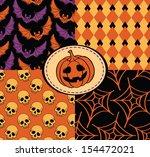 halloween seamless with skull ...   Shutterstock .eps vector #154472021