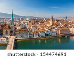 downtown of zurich at sunny day | Shutterstock . vector #154474691