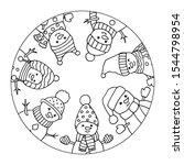 funny  merry christmas snowmen... | Shutterstock .eps vector #1544798954