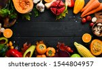 autumn vegetables and fruits on ...