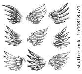 set of hand drawn bird wings... | Shutterstock .eps vector #1544818574