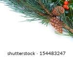 a christmas pine tree branch ... | Shutterstock . vector #154483247